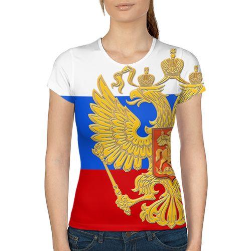 Флаг и герб РФ Женская 3D футболка с рисунком надписью принтом купить Женские футболки с полной запечаткой наложенным платежом