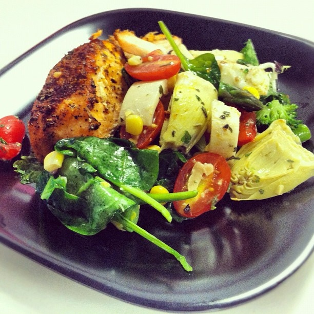 THE GOURMET LUNCHBOX: Baked Salmon Over a Balsamic Blue Cheese Spinach Salad #Recipe