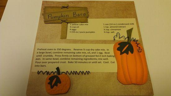scrapbook recipe book | Scrapbook/Cards / Pumpkin Bar Recipe Book Design by @Faye Tyler