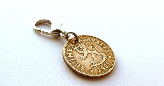 Finland Zipper charm 1981 Animal charm Lion charm Coin