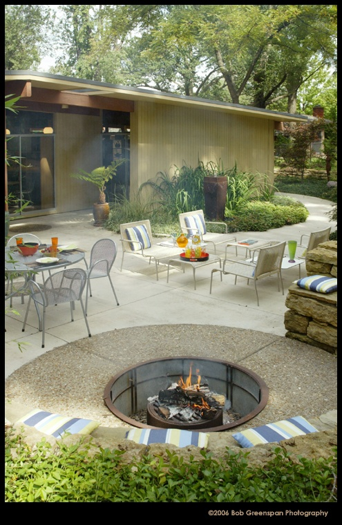 MCM-style patio with sunken firepit