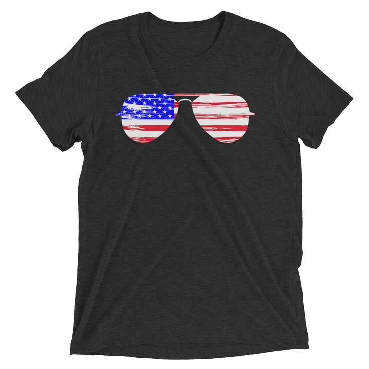 American Flag Sunglasses Short Sleeve T-shirt