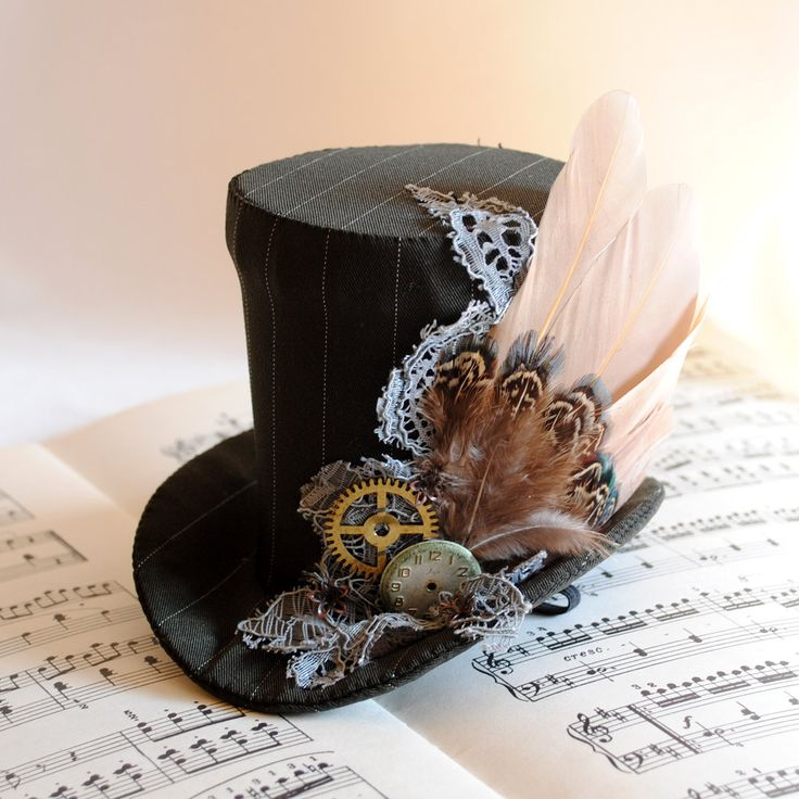 Winter Forest - Steampunk Mini Top Hat with Pheasant Feathers - Made to Order. €69.00, via Etsy.