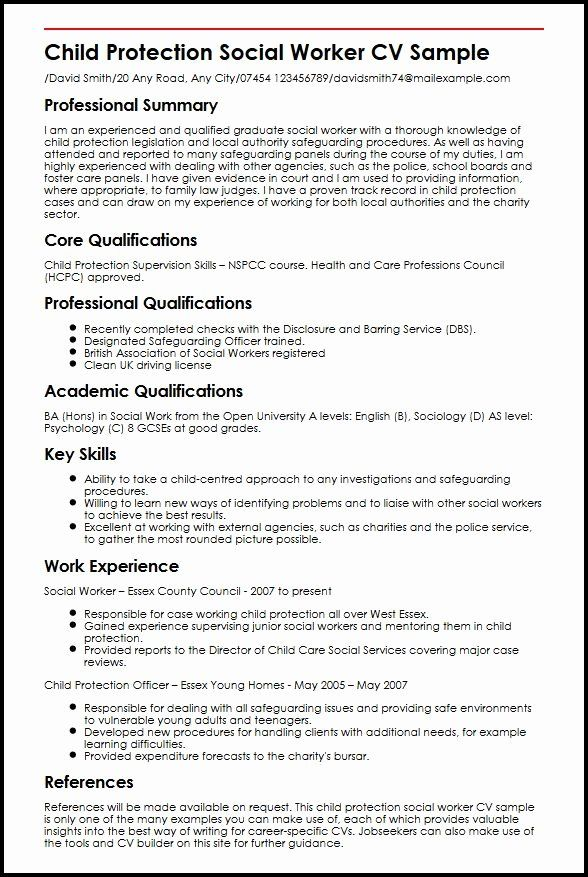 Entry Level Social Work Resume Unique Child Protection Social Worker Cv Sample Myperfectcv In 2020 Social Work Resume Skills Work Skills