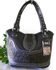 New Montana West® Concealed Carry Western Bag w/ Tooled Leather Accents- Black
