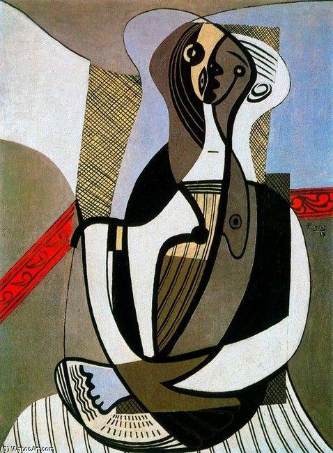 Acheter Tableau 'femme assise 8' de Pablo Picasso - Achat d'une reproduction sur toile peinte à la main , Reproduction peinture, copie de tableau, reproduction d'oeuvres d'art sur toile