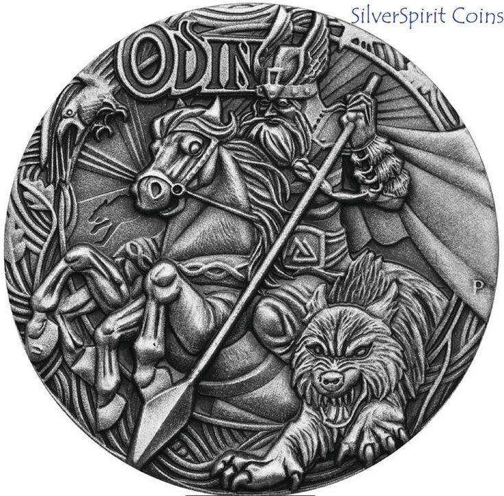 2016 NORSE GODS ODIN 2oz HIGH RELIEF Anitqued Silver Coin