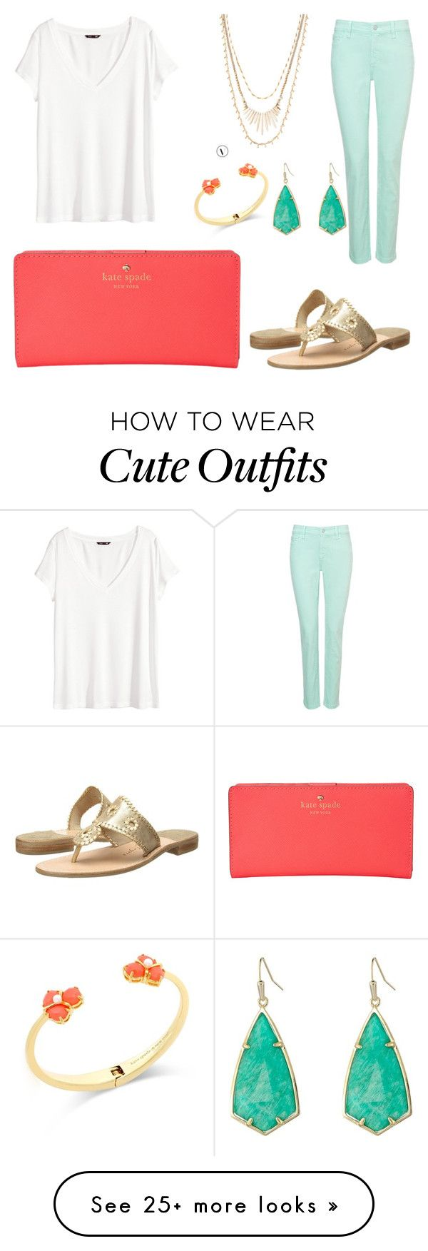 """""""Cute Spring Outfit"""" by emerycar131 on Polyvore featuring H&M, NYDJ, Jack Rogers, Kate Spade, Kendra Scott and Stella & Dot"""