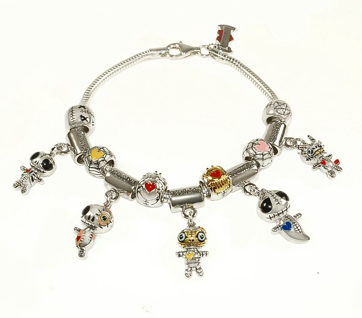 Silver Snake Bracelet with 5 Frightlings & 6 Beads  http://www.myfrightlings.com