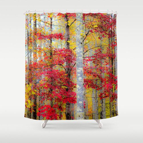 Rustic Shower, Fall Shower Curtain, Autumn Shower, Woods Shower Curtain, Forest Shower, Trees Shower, Fall Bathroom, Nature Shower, Yellow by mayaredphotography. Explore more products on http://mayaredphotography.etsy.com