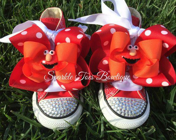ELMO SHOES - Elmo Birthday - Elmo Party - Elmo Costume - Crystals - Sesame Street - Red Converse - Infant/Toddler/Youth sizes - Elmo bow