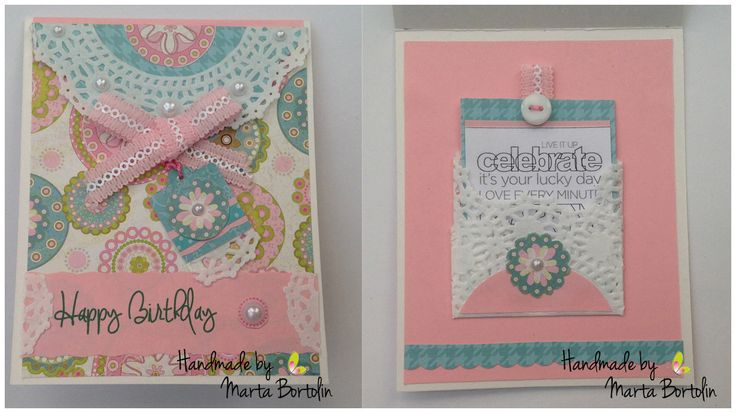 Happy Birthday Card, patterned paper, ribbon lace, doily paper, button and pearl.