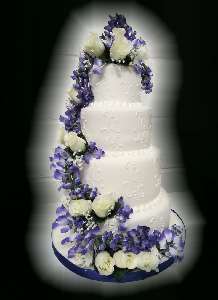 4 Tier Wedding Cake with Roses & Wisteria