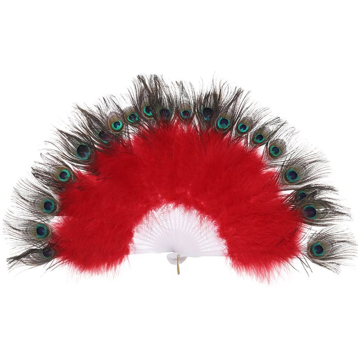 BABEYOND Roaring 20s Vintage Style Peacock & Black Marabou Feather Fan Flapper Accessories (Red)