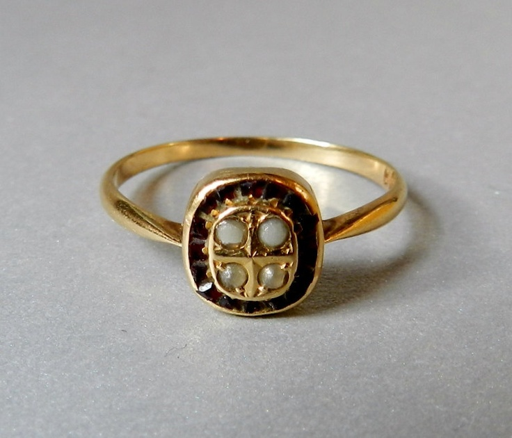 Victorian Antique Solid Gold Ring, Pave' set Rubies and Seed Pearls, Gorgeous. art deco  ring