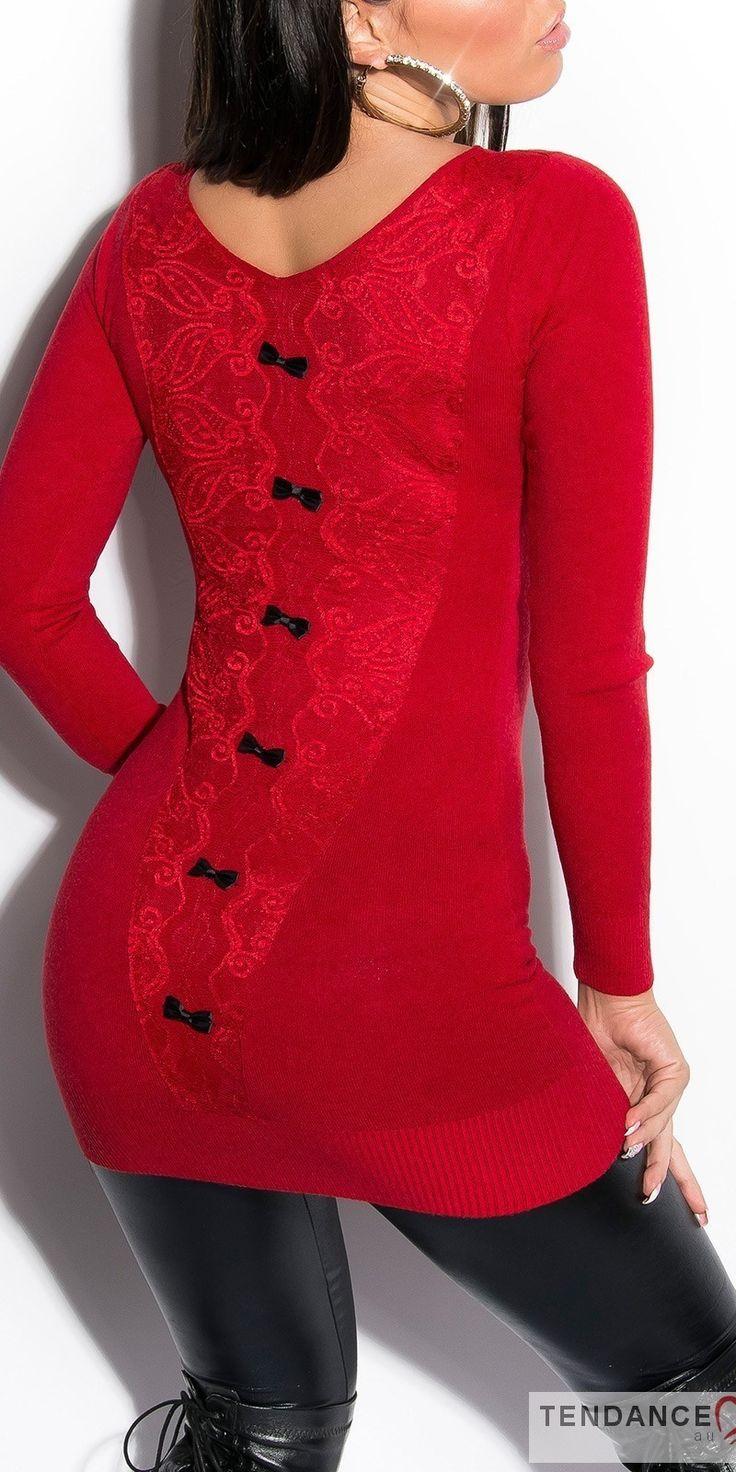 Long pull femme fashion AUDREY couleur rouge – Tendance Fashion boutique en ligne de vêtements, chaussures et accessoires de Mode au style sexy et fashion, toute la mode est sur www,tendancefashion,fr