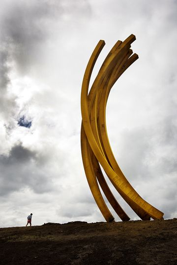 100 tonnes of corten steel lightly springing from a perfect hill at Alan Gibbs's 'The Farm' an hour's drive from Auckland, NZ, the work of French sculptor Bernar Venet .