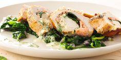 Gevulde kipfilet met zalm, spinazie en dillesaus