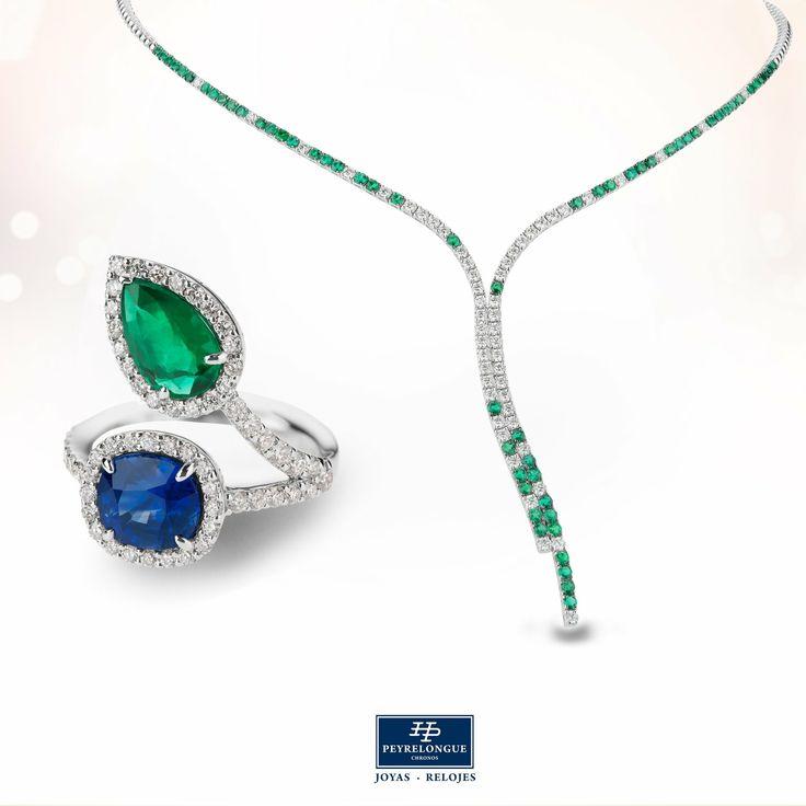 #JoyasPeyrelongue #ValentinesDay Collar con diamantes y esmeraldas. Anillo con diamantes, esmeralda y zafiro, en oro blanco de 18 kt. #jewelry #luxury #newchic #fancy #elegant #joyas #style #cute #vday #valentineideas #valentinesjewelry #valentinesstyle