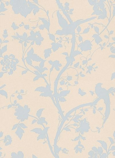 Oriental Garden Duck Egg (3308213) - Laura Ashley Wallpapers - A beautiful and elegant design of an oriental floral-trail of cherry blossoms and dainty birds in duck-egg blue on a shimmering pearlescent cream background. Additional colourways also available. Please request a sample for true colour match.