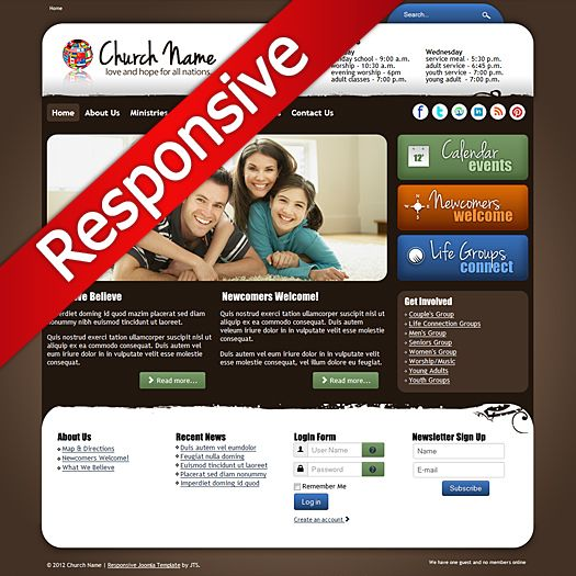 Church Responsive Template - Joomla Responsive 3.0 - 3.5