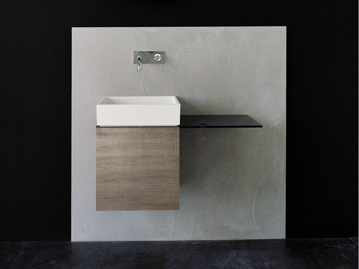 Wall-mounted oak washbasin unit with doors P40 by Moab 80   design Fabrizio Milesi