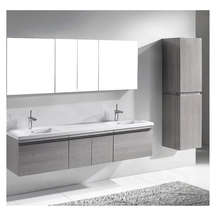 "Madeli VENASCA-72D-AG Venasca Ash Grey 72"" Modern Double Sink Bathroom Vanity"