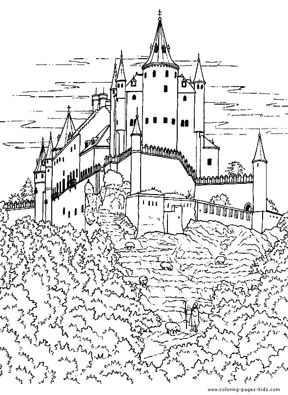 Medieval Castle Coloring Pages Castles Knights coloring