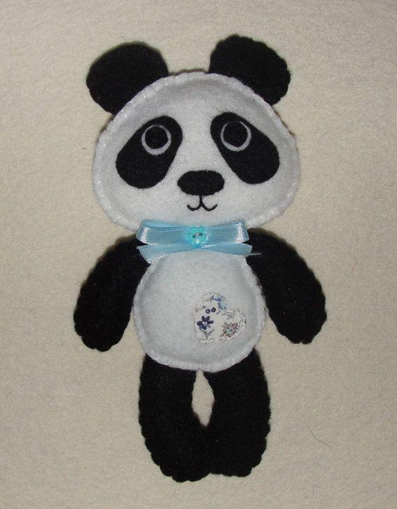 Lovely Felt Panda Bear Doll Stuffed Toy Decor Felt by NitaFelt