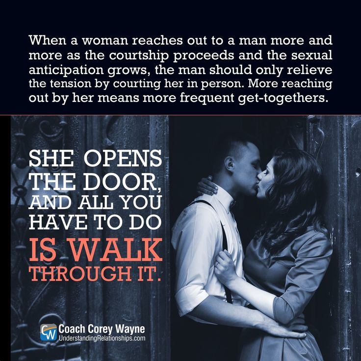 "#courtship #success #coaching #confidence #relationships #women #sex #dating #attraction #love #seduction #dreams #goals #marriage #coachcoreywayne Photo by iStock.com/teksomolika ""When a woman reaches out to a man more and more as the courtship proceeds and the sexual anticipation grows, the man should only relieve the tension by courting her in person. More reaching out by her means more frequent get-togethers. She opens the door, and all you have to do is walk through it."" ~ Coach Corey…"