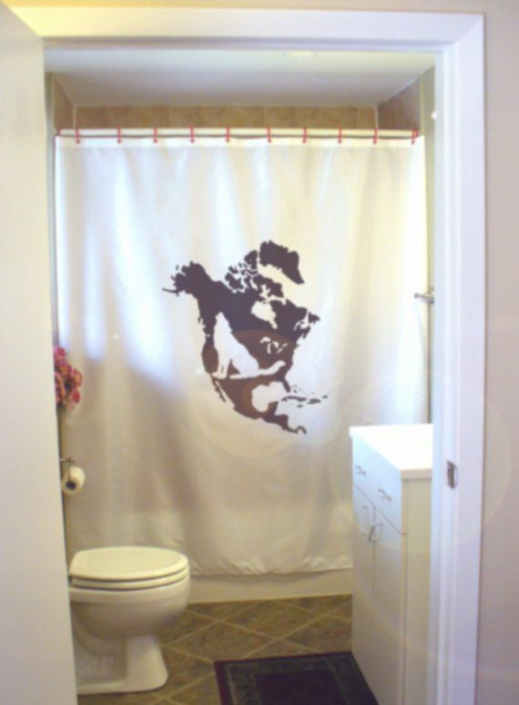 North American Wolf Shower Curtain Map America Howl Predator