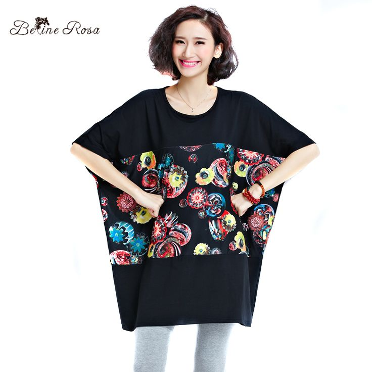 BelineRosa Big Sizes Women tshirt Fashion Summer Women Clothes Floral Printed Black T-shirts for women 50 ~ 100 KG QY00003 #Affiliate