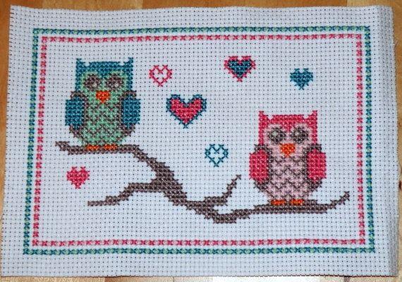 Owl cross stitch pattern: lovebird owls by MKDesignArt on Etsy