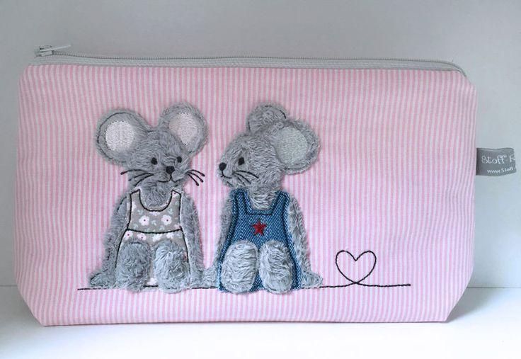 Stickmuster - Stickdatei Sitzende Mäuse Doodle 13x18 Maus - ein Designerstück von Stickherz bei DaWanda