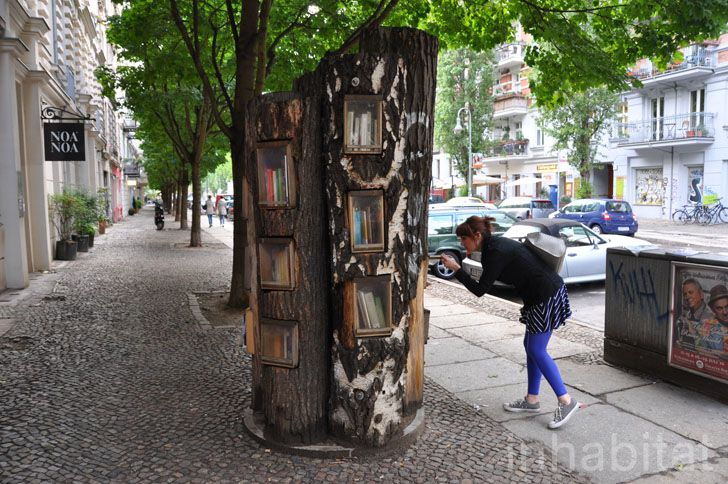Book Forest: Berlin Turns Fallen Tree Trunks Into a Free Book Exchange!