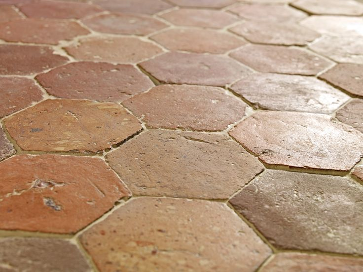 #Lapicida #Antique #Orleans Terracotta is a #handmade 18th and 19th Century #hexagon #terracotta floor tile. These classic #red #tiles are #reclaimed from the #Burgundy and #Loire regions of #France and are suitable for both #interior and exterior #floor applications, dependent on climate.