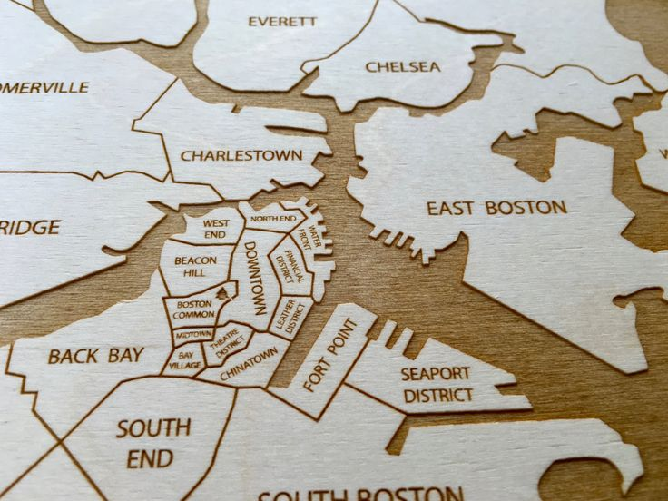 Boston engraved wood neighborhood map by Etched Atlas.