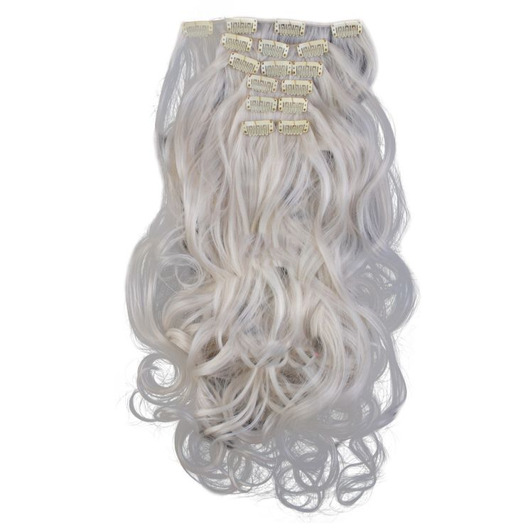7pcs Suit Clips in Hair Extension Curled Wig Piece 60