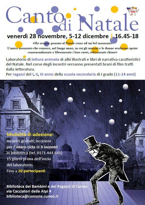 Canto di Natale venerdì 28 novembre, 5-12 dicembre | 16.45-18 Biblioteca dei Bambini e dei Ragazzi di Cuneo via Cacciatori delle Alpi 4 biblioteca(at)comune.cuneo.it