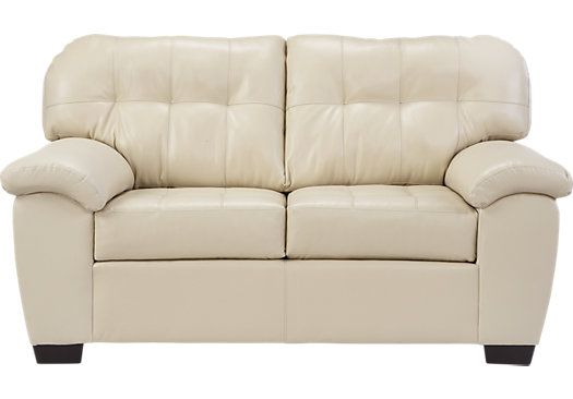 """Angelo Bay Natural Blended Leather Loveseat at Rooms To Go. says it's 'beige'. 69"""""""