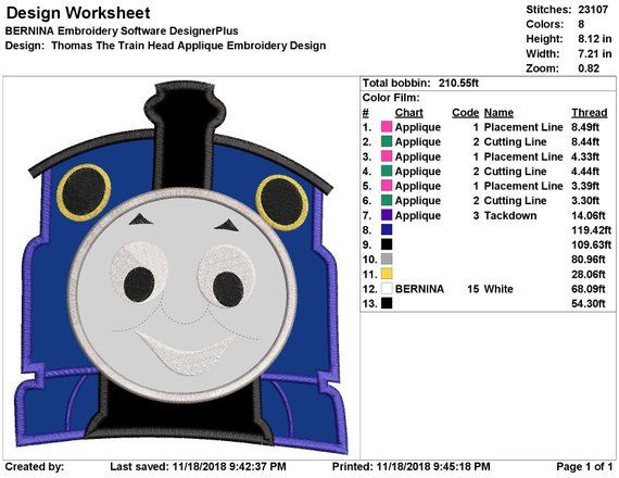 Thomas The Train Head Applique Embroidery Design Instant Download