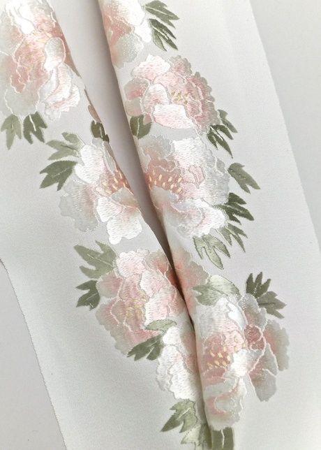 正絹,手刺繍半衿,
