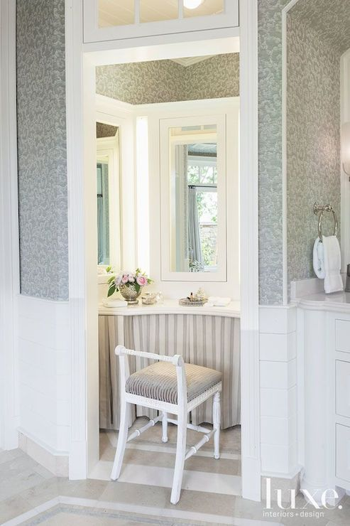 Luxe Interiors and Design - bathrooms - transom window over door, shiplap half wall, shiplap paneled v