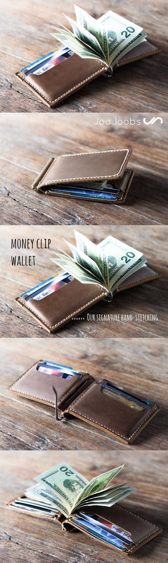 This leather money clip wallet is handmade and hand-stitched.  Inside there are 4 card slots which can hold 2 cards each for a total of 8 cards.  Instead of a cash pocket, we have replaced it with an easy to use, money clip.