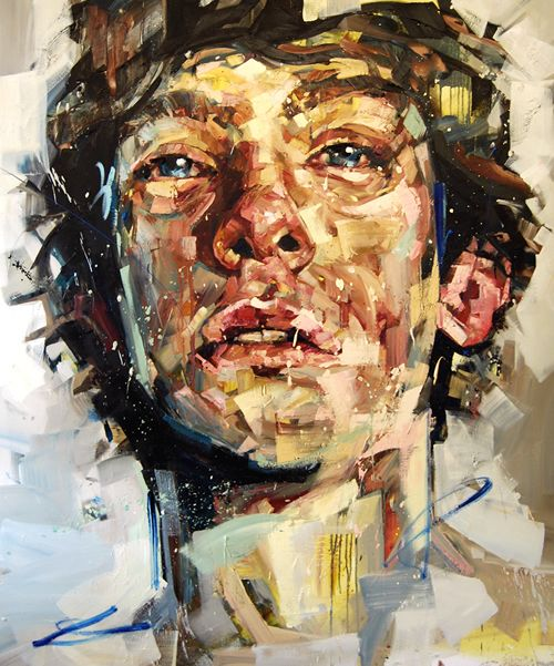Andrew Salgado - titled 'Parentheses' and painted with Oil on canvas (2012). In comparison to 'Thirteen', the colours used in this painting are much lighter however differentiating colours are used together again without the use of blending giving the same tonal effect and portraying realism but in an expressive way. The effect of the brush strokes going in different directions in the hair adds to its energy and illustrates the scruffiness of it.