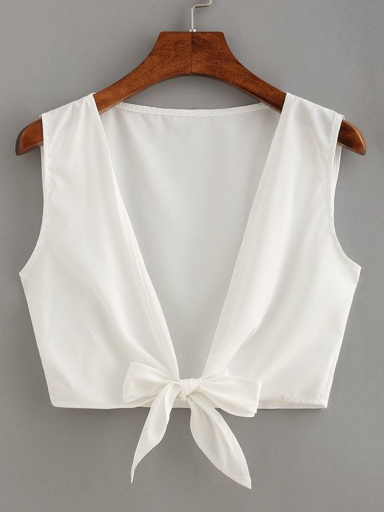 Knot Front Crop Top | MakeMeChic.COM Mobile Site