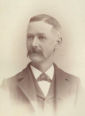 CABINET PHOTO STURDY OLDER VICTORIAN GENTLEMAN NICE THICK LONG MUSTACHE
