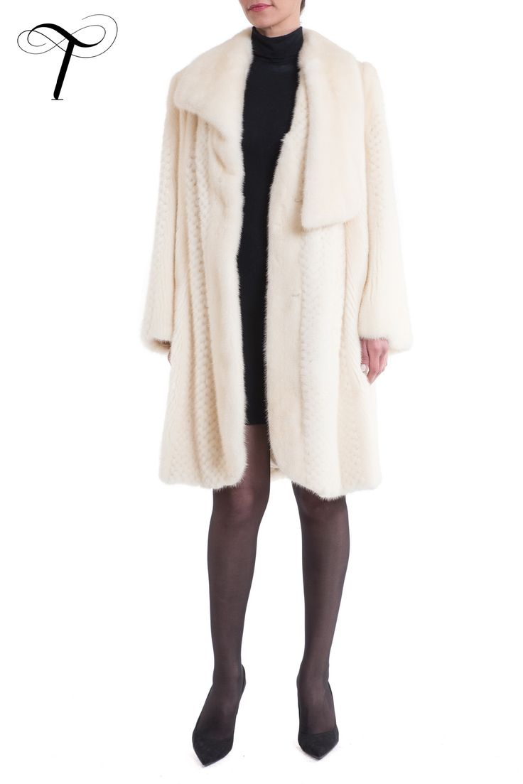 PEARL BLEACH MINK COAT IN MIXED TECHNIQUES  This exceptional, stunning #furcoat, displaying extreme attention to detail, is crafted from pearl bleach #minkfur.The #coat is cut in a straight line with a curved front hem, a swing back and a plush, unusual #asymmetric collar. Complete with concealed hook and eye fastenings, slit velvet pockets and pattern satin lining, it will look perfect layered over #tailored suits and #sophisticated dresses as an ultimate expression of pure #luxury.