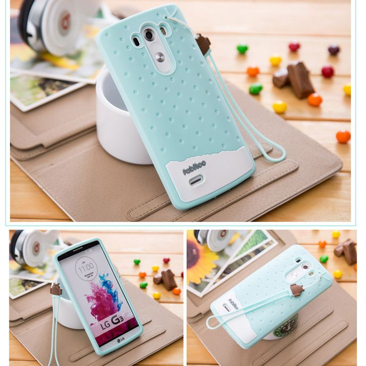 For LG G3 Case 3D Cute Cartoon Ice Cream Soft TPU Silicone Phone Cases Cover For LG G3 D855 Girl Lanyard Original Silicon Case