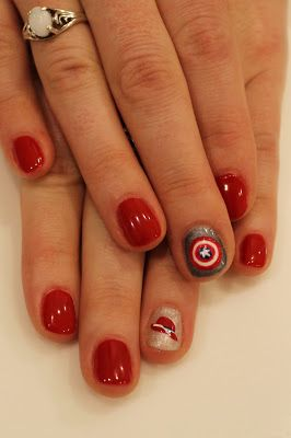Captain America Nails with Peggy Carter's hat. Gelish Hot Rod Red ManiMondays